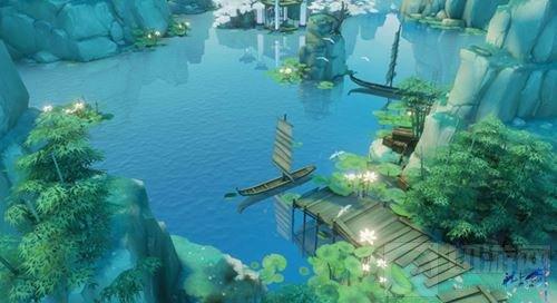 垂钓戏鱼莲溪畔 古风手游《花与剑》闲趣正自在